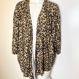 Christine V Animal Print Knit Kimono Cardigan Xl